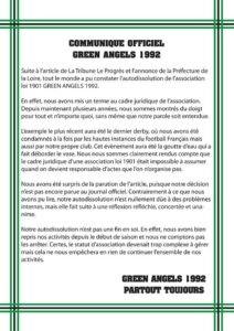 Communiqué des Green Angels