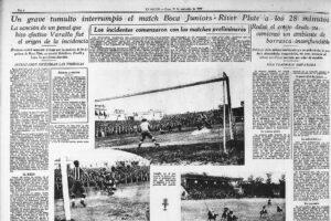 """Article de """"La Nacion"""" relatant les incident lors du tout premier """"superclasico"""" de l'ère professionnel le 19 Septembre 1931"""