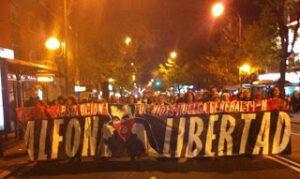 """Les supporters du Vallecano réclamant la libération de """"Alfon"""""""