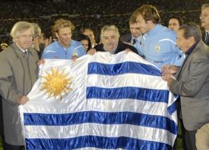 Le président uruguayen, José Mujica, en compagnie des joueurs de la Celeste. Photo : Présidence de l'Uruguay