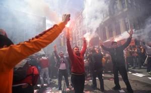 Les ultras stambouliotes lors d'une manifestation contre des mesures répressives. (DR)