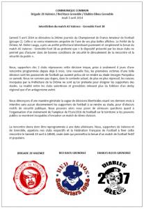 Communiqué co-signé par les supporters des deux clubs .(DR)