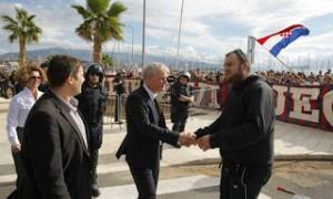 Manifestation de la Torcida Split pour sauver le Hadjuk Split de la faillite. (DR)