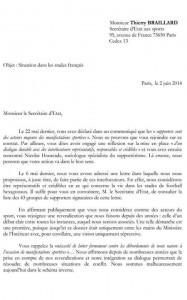 Lettre signé par 43 groupes envoyé au secrétaire d'Etat aux sports. (DR)