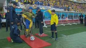 Un adolescent équipé d'un exosquelette chargé du coup d'envoi de la coupe du monde. (DR)