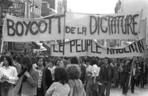 Manifestation contre l'organisation du mondial 1978 en Argentine. (DR)