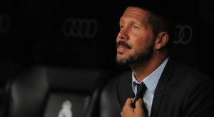 MADRID, SPAIN - AUGUST 19: Head coach Diego Simeone of Club Atletico de Madrid looks on during the Supercopa first leg match between Real Madrid and Club Atletico de Madrid at Estadio Santiago Bernabeu on August 19, 2014 in Madrid, Spain. (Photo by Denis Doyle/Getty Images)