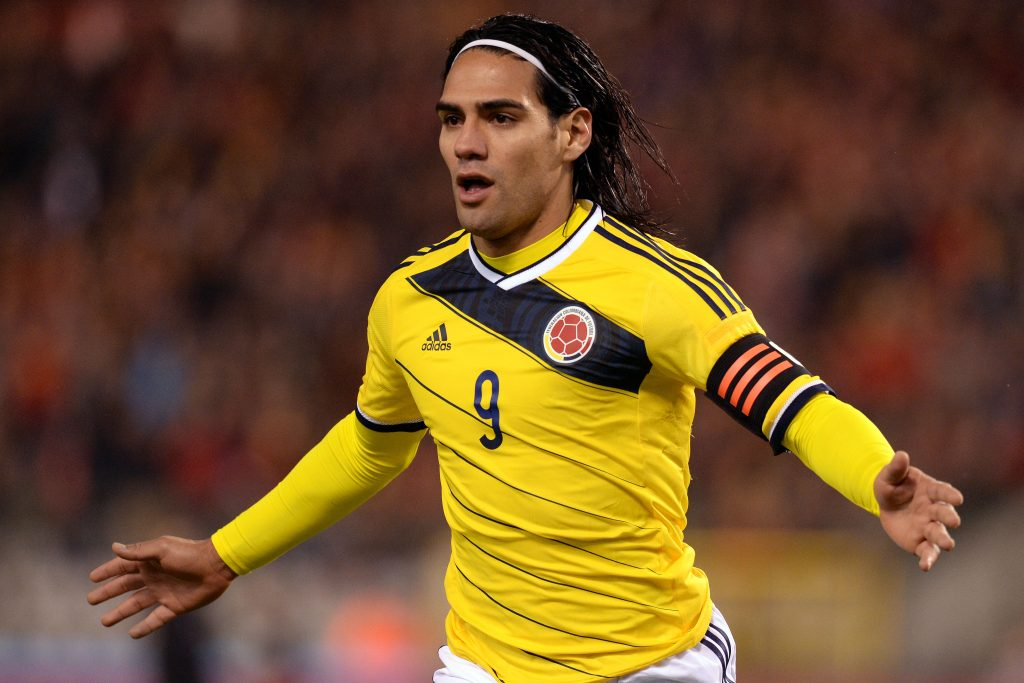 Colombia's Radamel Falcao celebrates after scoring against Belgium during a friendly soccer match at the King Baudouin stadium in Brussels on Thursday, Nov. 14, 2013. (AP Photo/Geert Vanden Wijngaert)